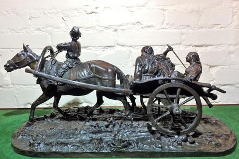 Бронзовая статуэтка мужчин с лошадьми ручная работа в искусстве на улице