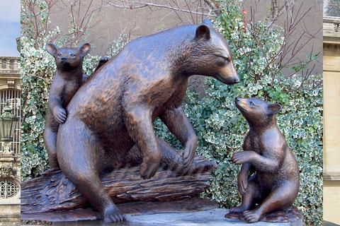 Героическая Статуэтка Медведици с медвежонком из бронзы в искусстве для декорации