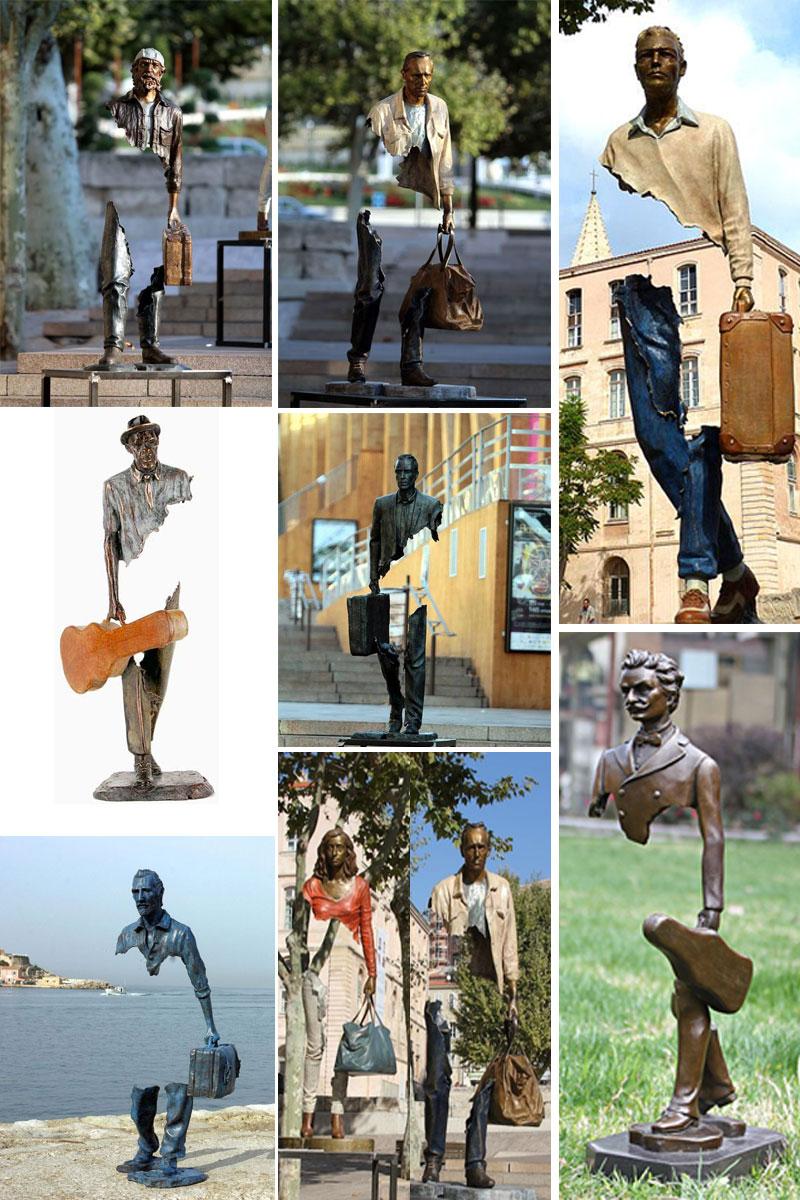 скульптура путешественник на улице