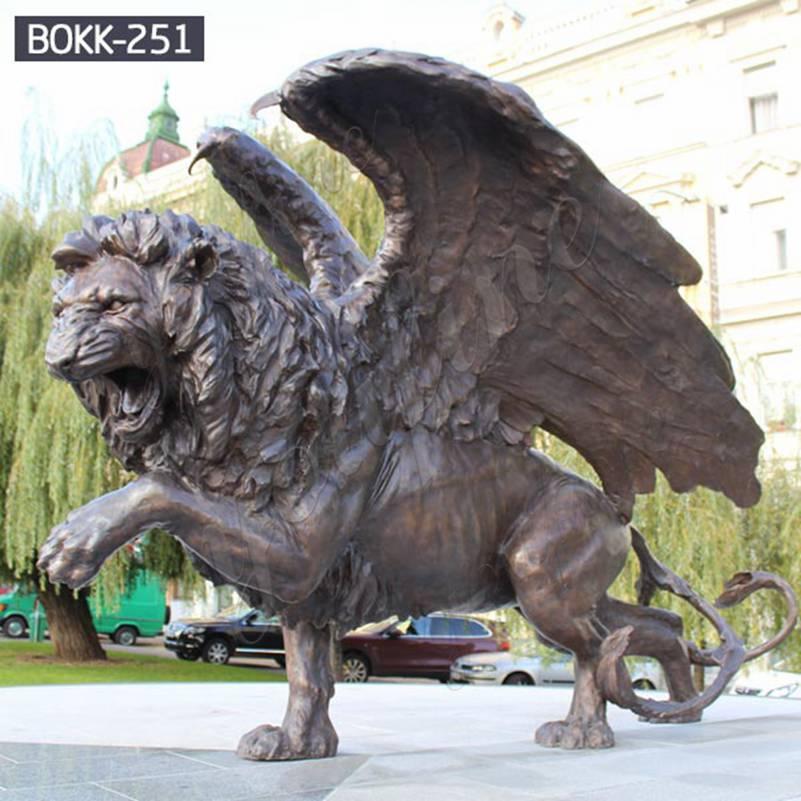 Большой бронзовый крылатый зверь Лев статуя на продажу BOKK-251