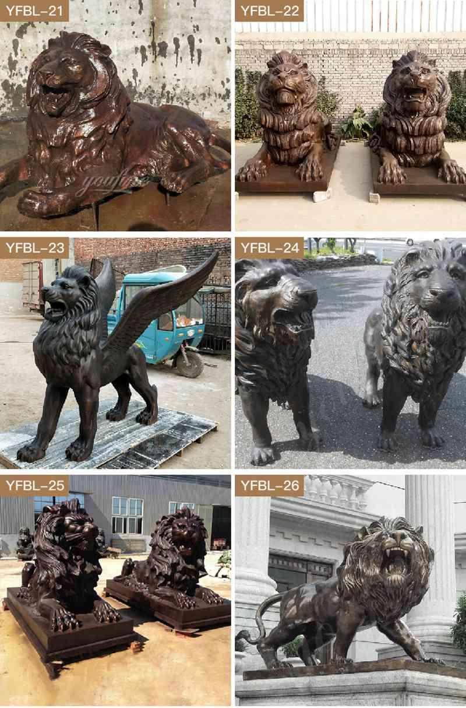 Бронза Статуя Льва Стража для Переднего Подъезда