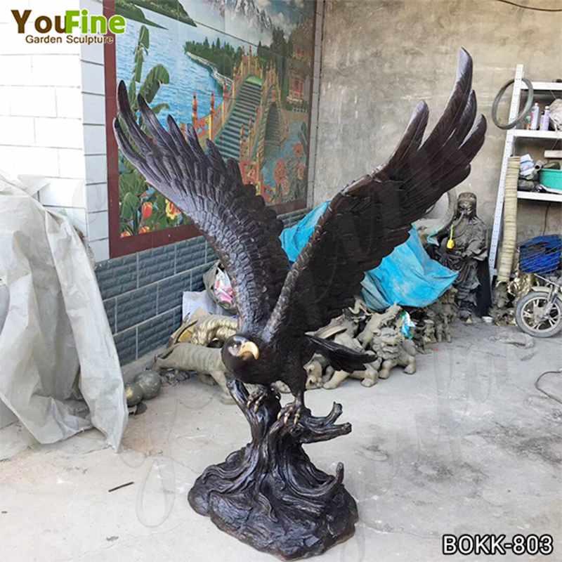 Горячие продажи в натуральную величину Черная бронзовая статуя орла для продажи BOKK-803