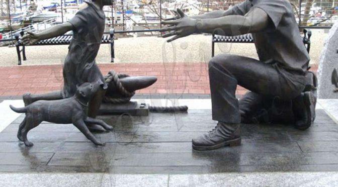 Литье Бронзового солдата в натуральную величину со статуей девушки для продажи