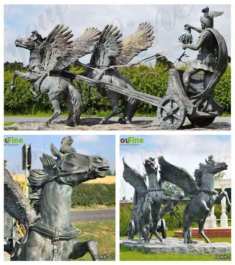 Персей и Медуза голова верхом на колеснице скульптура