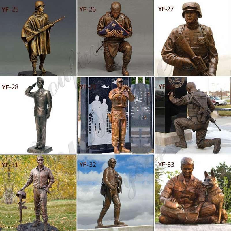бронзовая военная статуя