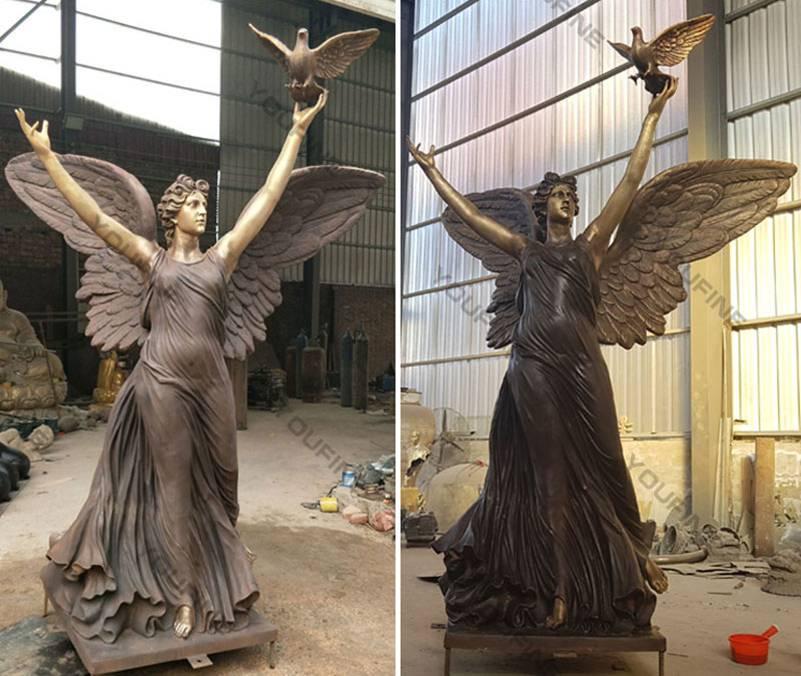 Outdoor Bronze Angel with Dove Statue