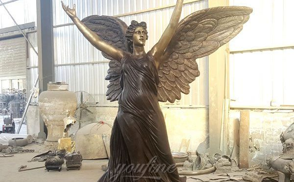 Outdoor Large Bronze Angel with Dove Statue Suppliers