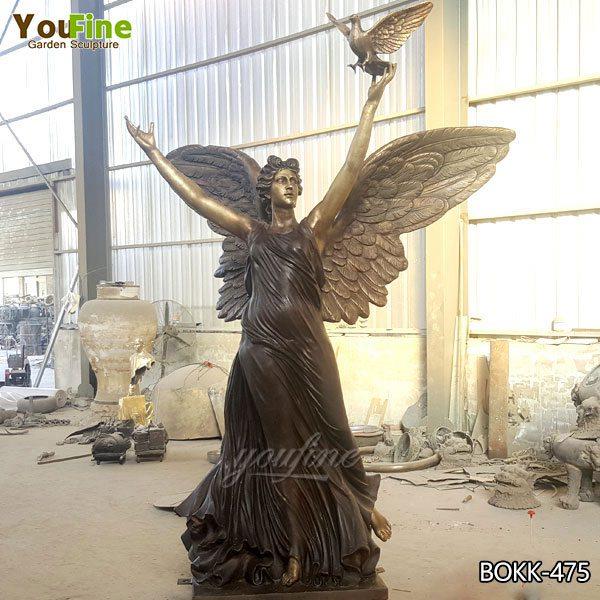 Открытый большой бронзовый Ангел с голубем статуя поставщики BOKK-475