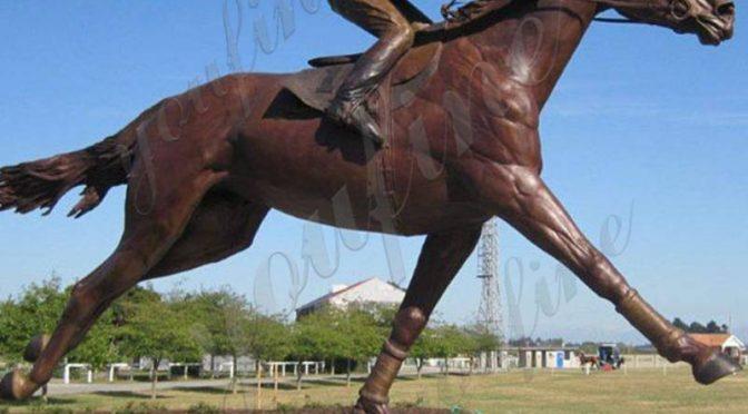 Купить бронзовую гоночную лошадь в натуральную величину со статуей жокея