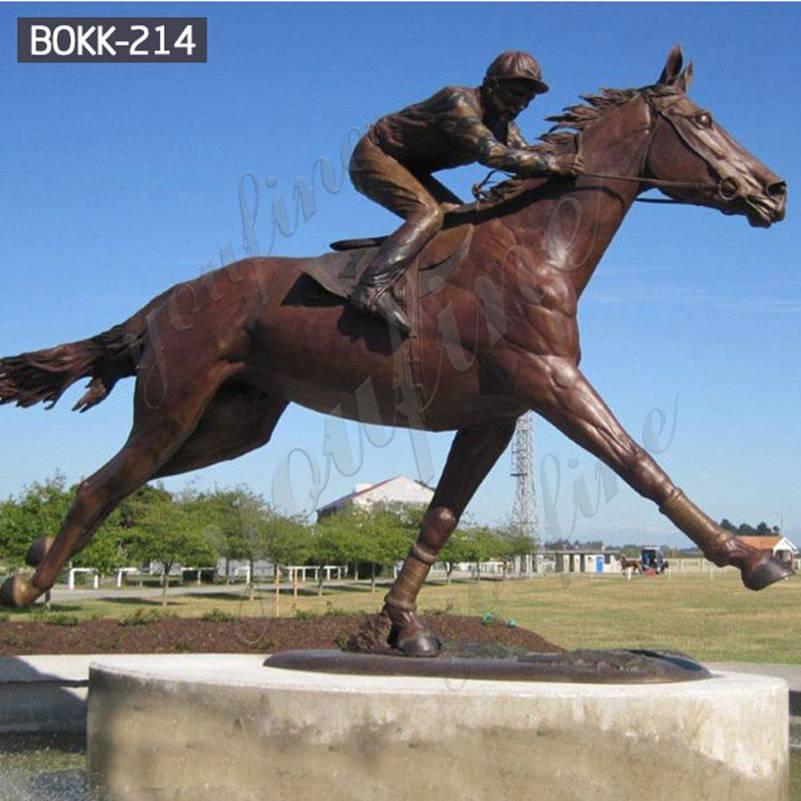 Купить бронзовую гоночную лошадь в натуральную величину со статуей жокея BOKK-214