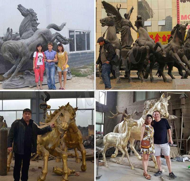 Бронзовая скульптура колесницы Аполлона и лошадей