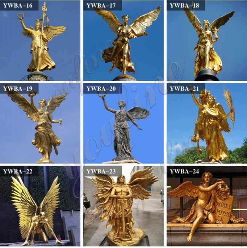 Бронзовый ангел держит факел статуя