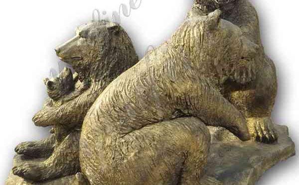 В натуральную величину бронзовая статуя семьи медведя гризли Заводская поставка