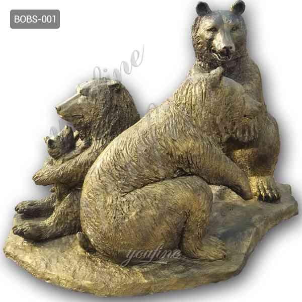 В натуральную величину бронзовая статуя семьи медведя гризли Заводская поставка БОКК-655