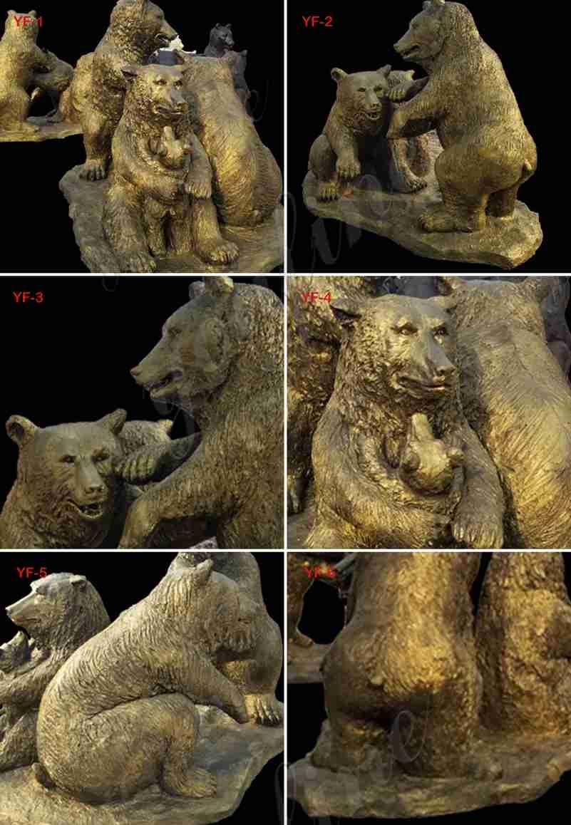 В натуральную величину бронзовая статуя семьи медведя гризли