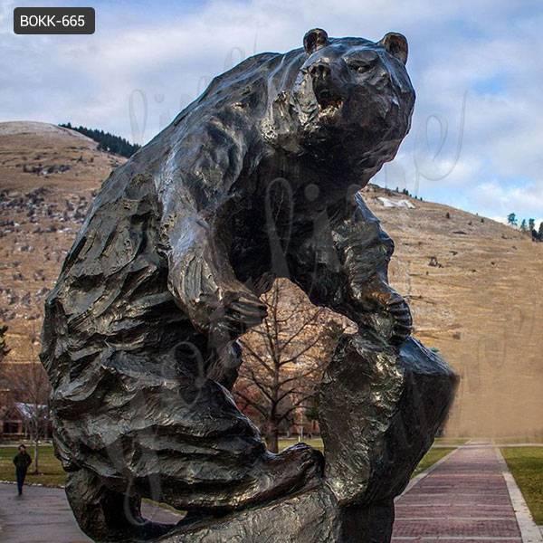 Дешевая цена напольная большая бронзовая статуя медведя для продажи BOKK-665
