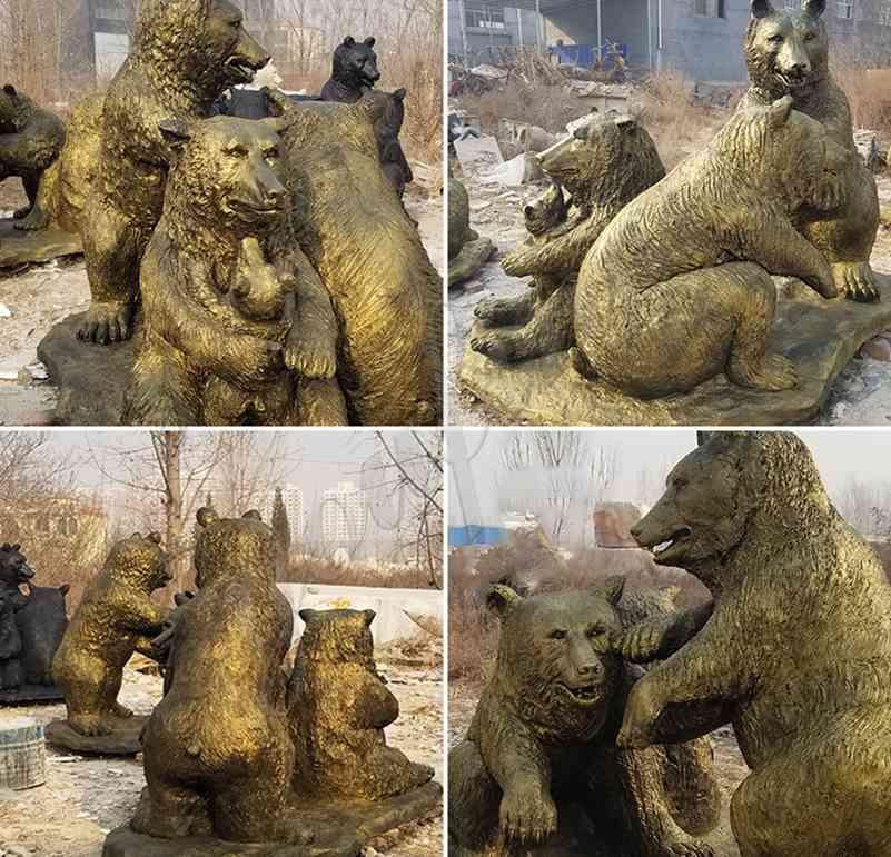 литое животное бронзовая статуя дикого медведя