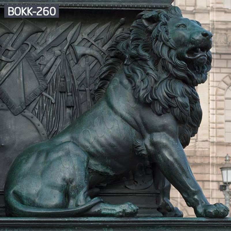 Большая античная бронзовая статуя льва для переднего крыльца поставщики BOKK-260