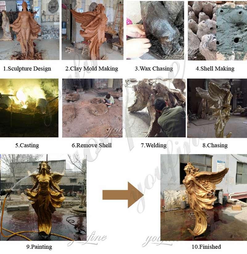Бронзовая крылатая скульптура ангела для продажи