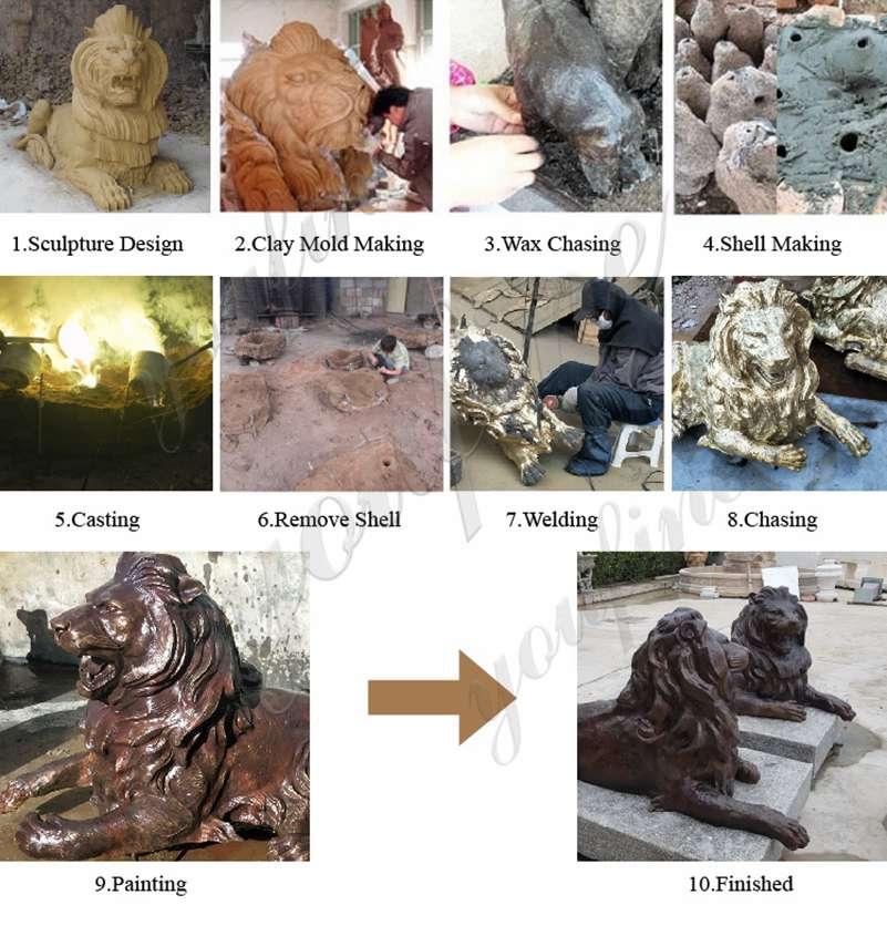скульптуры животных под бронзу