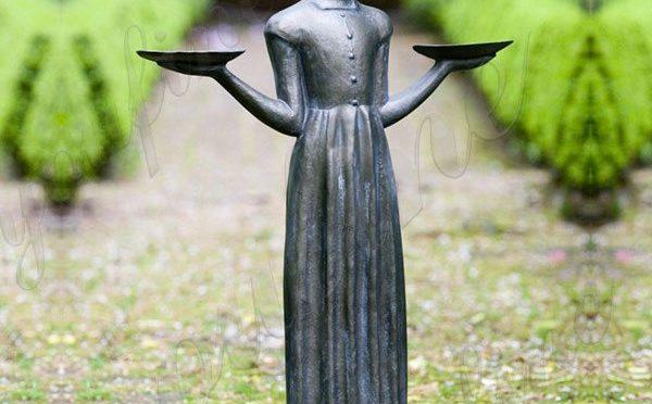 Заводская прямая бронзовая статуя девушки птицы в натуральную величину в саванне