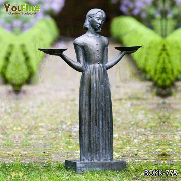 Заводская прямая бронзовая статуя девушки птицы в натуральную величину в саванне BOK775