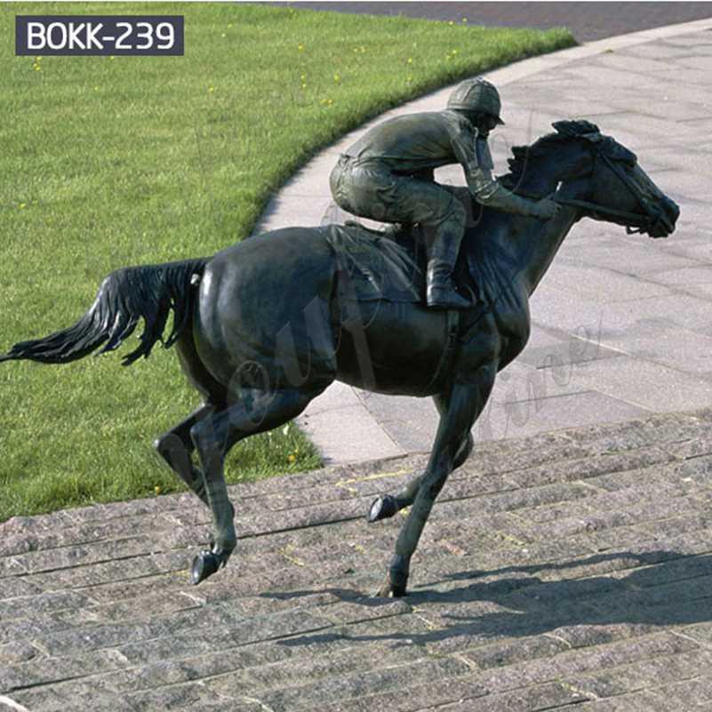 Открытый большой бронзовый конь и всадник для ипподрома на продажу BOKK-239