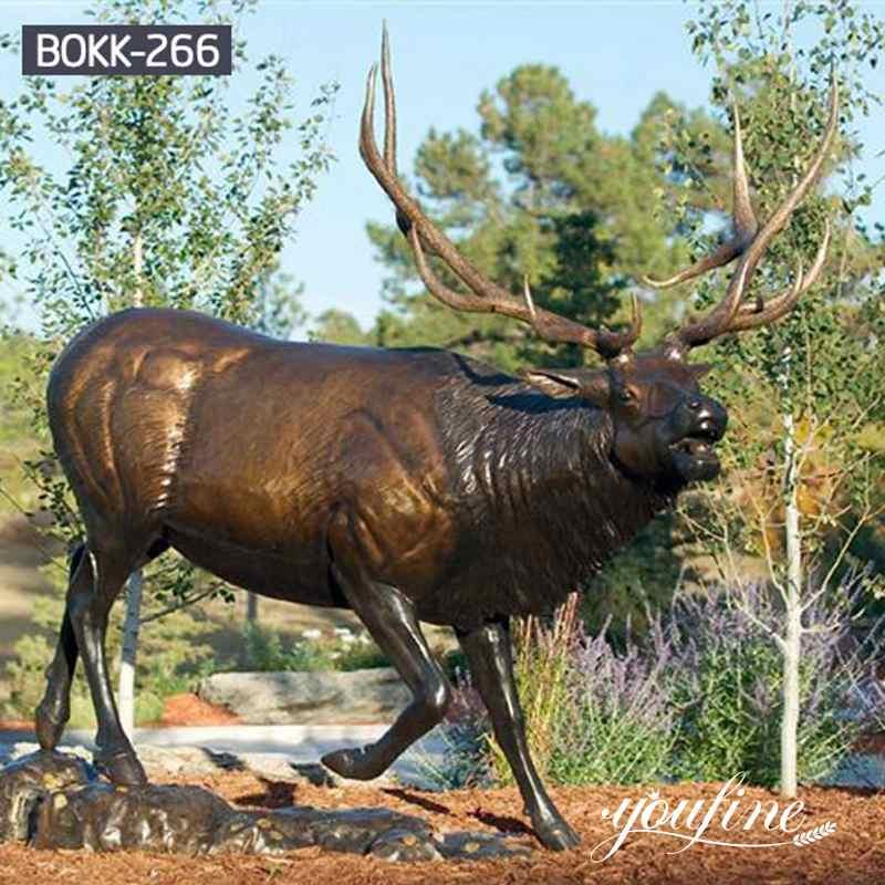 Антикварная Бронзовая Статуя Лося в натуральную Величину Садовый Декор в продаже BOKK-266