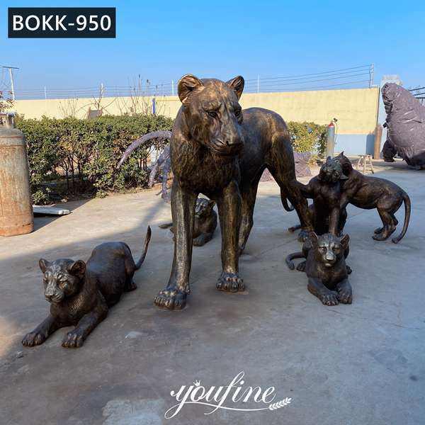 Напольные Бронзовые Семейные Статуи Льва для декора сада в Зоопарке для продажи BOKK-850