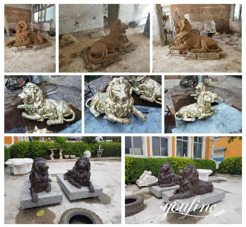 античная бронзовая статуя льва