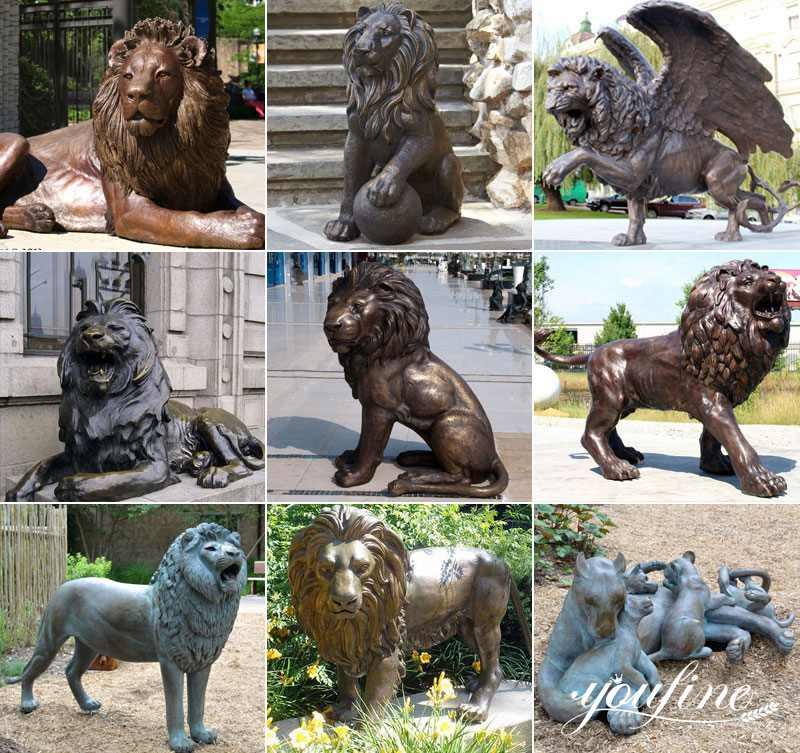бронзовые статуи льва на открытом воздухе