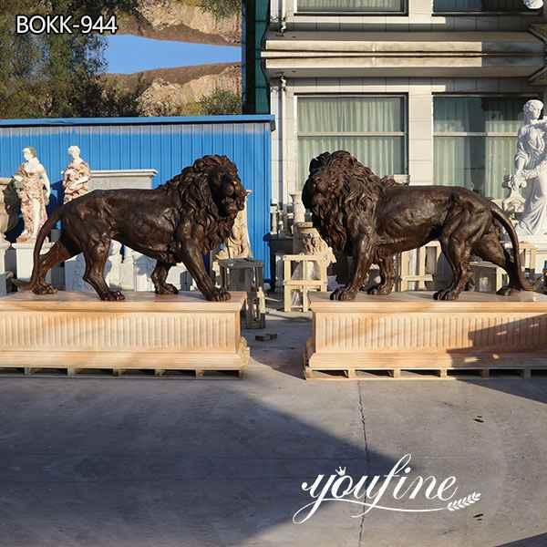 Большие Бронзовые Статуи Льва На Открытой Подъездной дорожке для продажи BOKK-944
