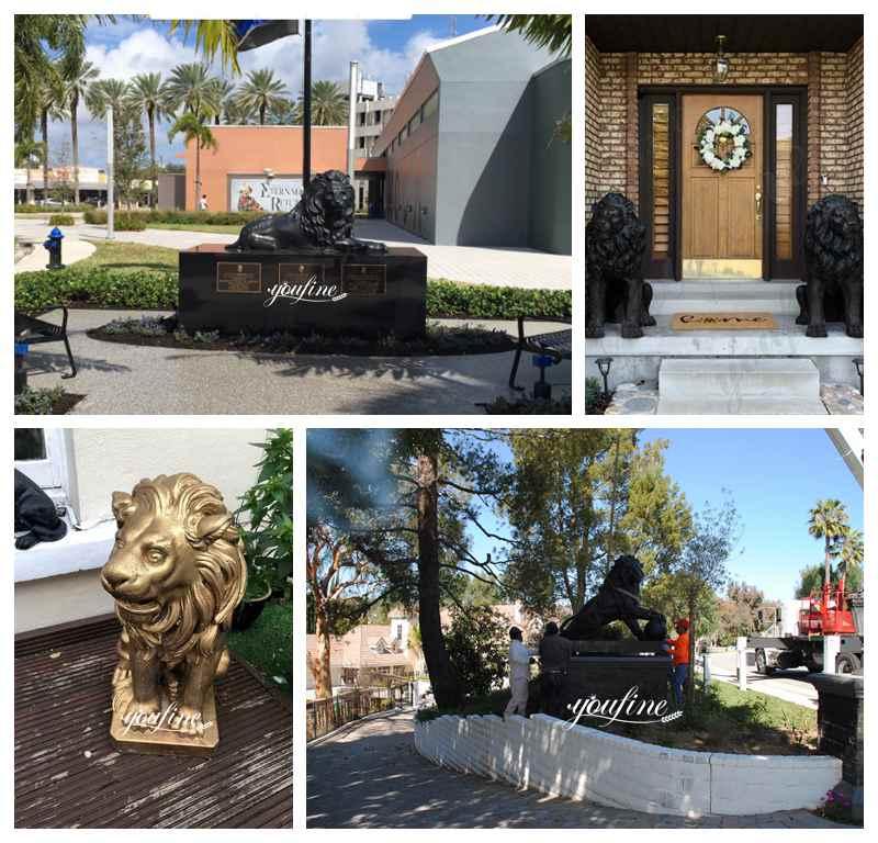 большая бронзовая статуя льва
