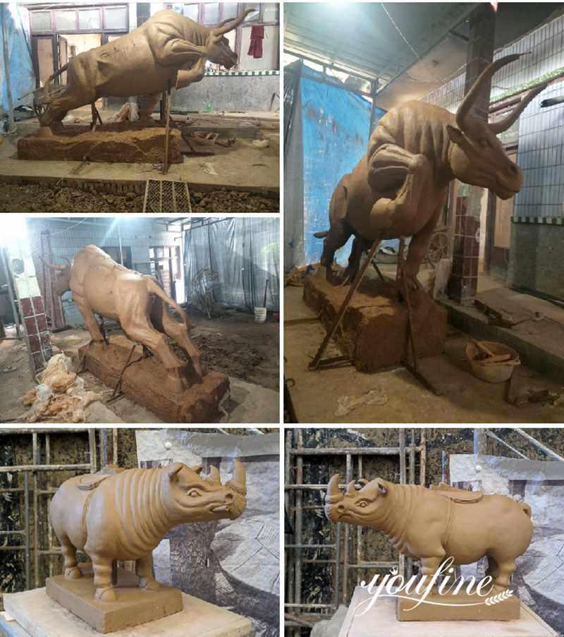 садовая большая бронзовая статуя быка
