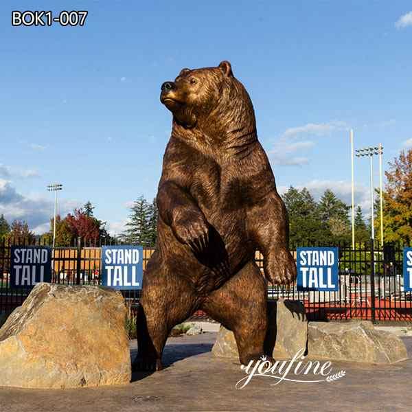 На открытом воздухе Большая Бронзовая Статуя Медведя Талисман Кампуса в продаже BOK1-007