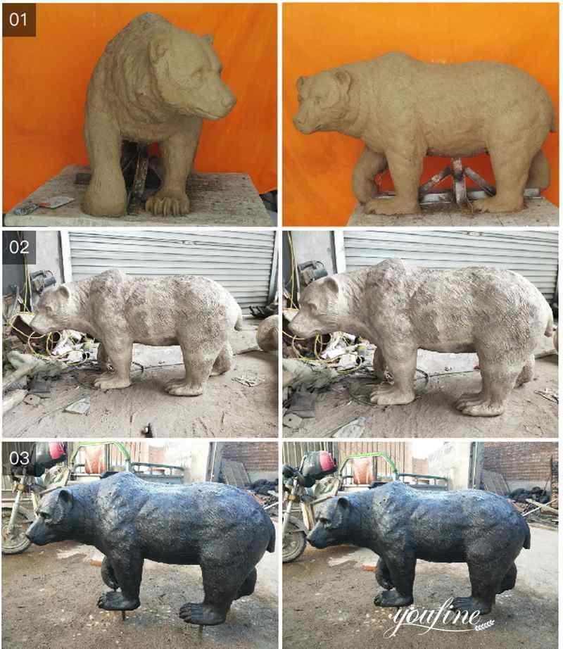 бронзовая статуя медведя в натуральную величину для продажи