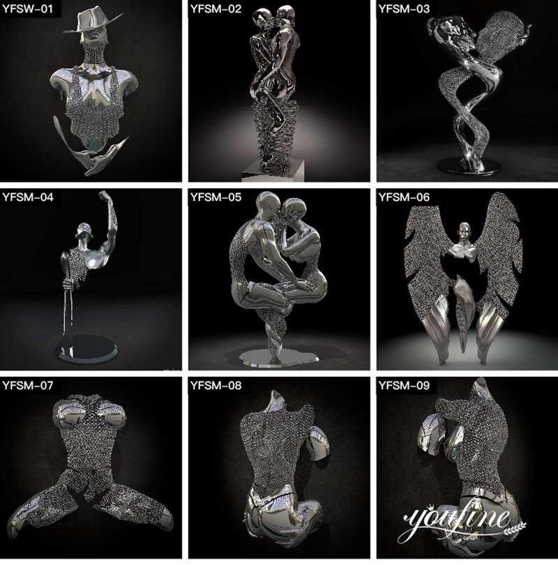 современная скульптура из нержавеющей стали